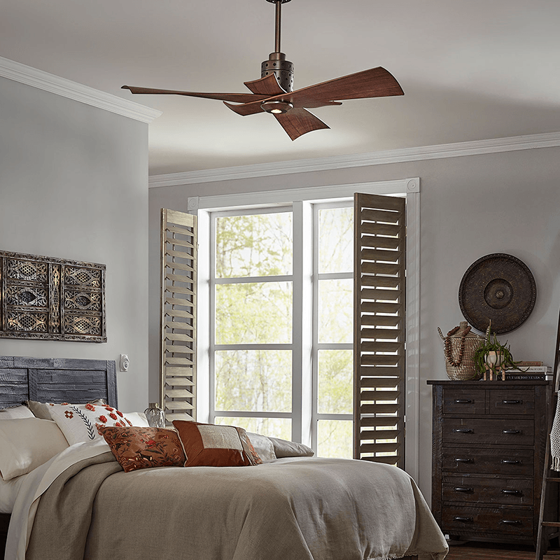 Kichler's Frey ceiling fan makes a statment in your bedroom, office, or great room