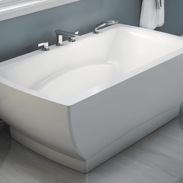 Contemprary curved freestanding tub.  Available with various colors on the exterior and can be jetted.